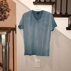 Men's light blue Diesel V-neck pocket tee Large
